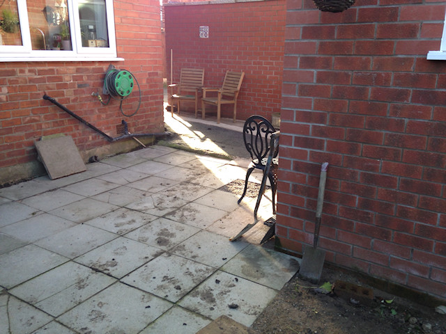 Indian Stone patio Cheadle Hulme: Before