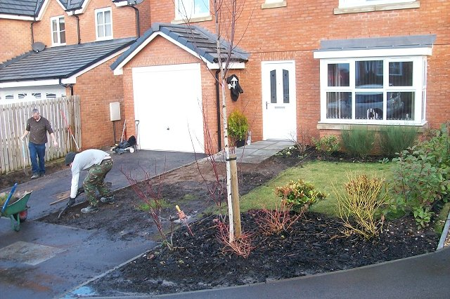 Landscaping Front Garden Garden landscaping project in offerton driveway and front garden driveway 01 evergreen landscaping ltd front garden workwithnaturefo