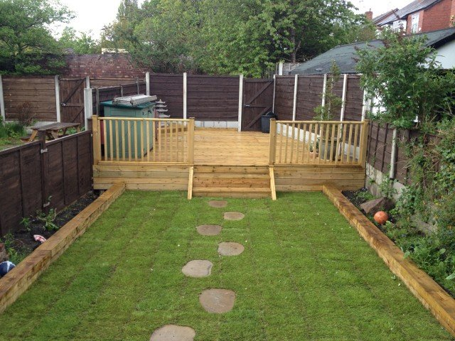 Stockport areas covered by our landscape gardening services for Garden design decking areas